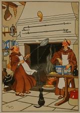 Paters koken aan de haard