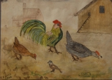 Kippen op het neerhof