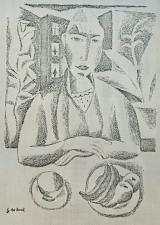 Vrouw met fruitbord